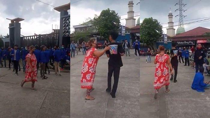 Viral Video Kocak Emak Berdaster Jemput Anaknya di Tengah Aksi Demo UU Cipta Kerja, Ini Alasannya