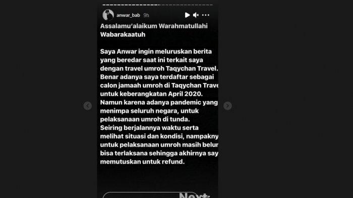 Instagram Story Anwar BAB, Ini Alasannya  Ajukan Refund Umroh dari Taqychan Travel