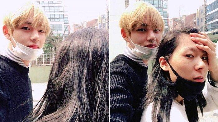 Jang Moon Bok dan V BTS foto bersama.