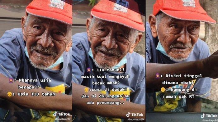 Viral Kisah Kakek Penarik Becak Usia 110 Tahun: Becak Hanya Didorong karena Tak Kuat Mengayuh