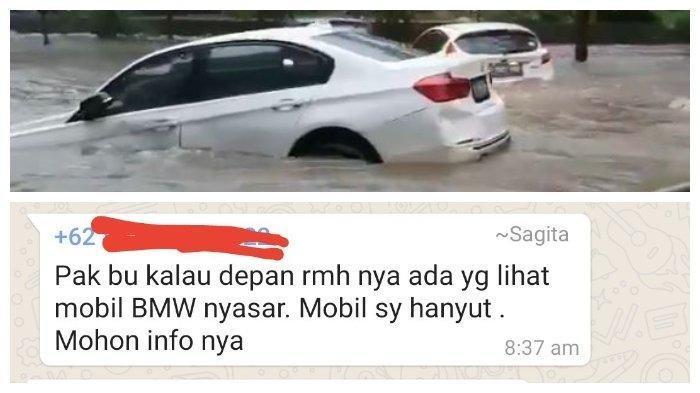 Viral, Mobil BMW Hanyut Terseret Banjir di Tangerang, Ditemukan Nyangkut di Pohon, Ini Videonya