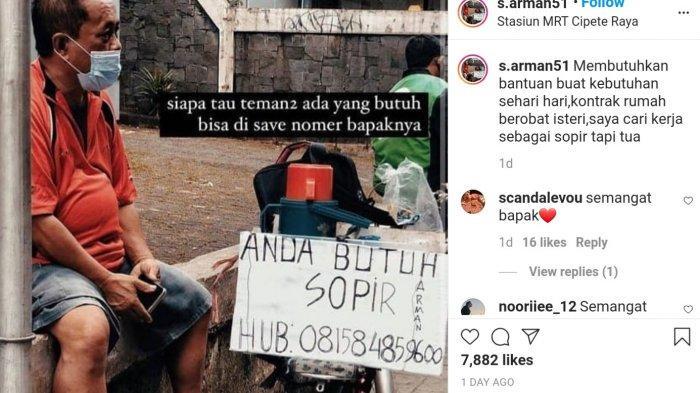 Seorang pria mengaku bernama Pak Arman viral di media sosial karena mencari pekerjaan sebagai sopir akibat terdampak pandemi.