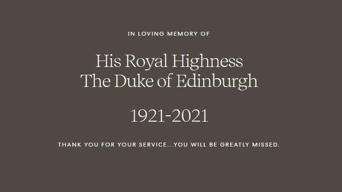 Ucapan belasungkawa dari Meghan Markle dan Pangeran Harry yang dimuat di situs Archewell atas kematian Pangeran Philip.