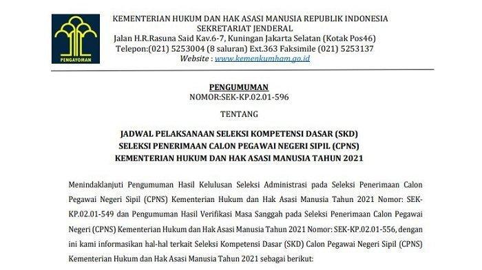 Link Pengumuman Jadwal dan Lokasi Tes SKD CPNS Kemenkumham, Ada Bengkulu, Jawa Tengah dan Sulteng
