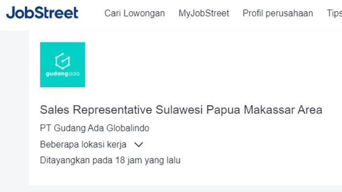 Lowongan pekerjaan posisi Sales Representative PT Gudang Ada