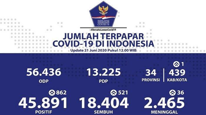 UPDATE Sebaran Virus Corona di Indonesia Minggu (21/6/2020): DKI Catat Kasus Baru & Sembuh Terbanyak