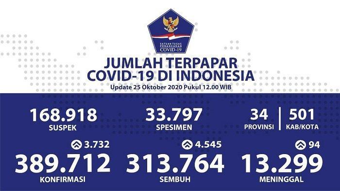 UPDATE Sebaran Virus Corona Indonesia Minggu (25/10/2020): DKI Catat 1.229 Kasus Sembuh, Riau 557