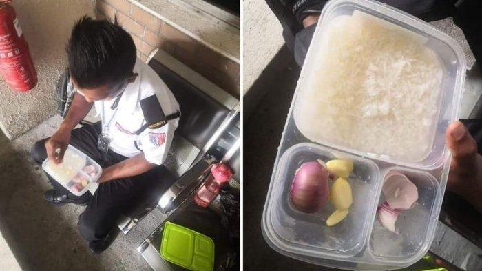 Viral Foto Satpam Berbekal Nasi Lauk Bawang Mentah, 90 Persen Gajinya untuk Keluarga di Kampung
