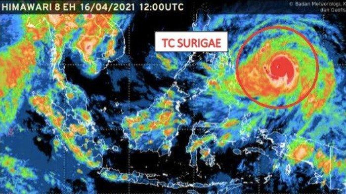 Siklon Tropis Surigae Meningkat dalam 24 Jam, Malut & 8 Wilayah Lain Waspada Hujan Lebat dan Petir