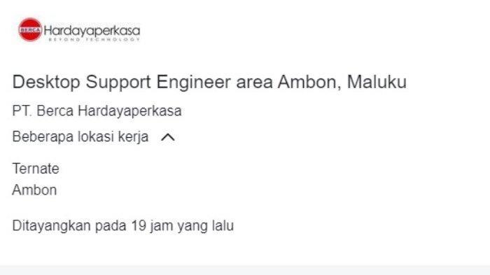 Lowongan kerja posisi Desktop Support Engineer