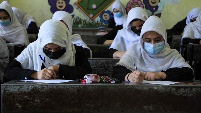 Ilustrasi wanita bersekolah di Afghanistan