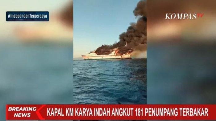 Bawa 181 Penumpang dan 14 ABK, KM Karya Indah Rute Ternate-Sanana Terbakar di Perairan Maluku Utara