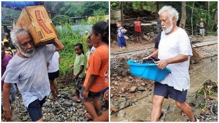 Aksi Mantan Presiden Timor Leste Xanana Gusmao Tuai Sorotan, Pikul Kardus di Tengah Banjir