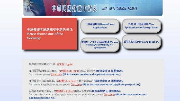 Aplikasi Pengajuan Visa Taiwan