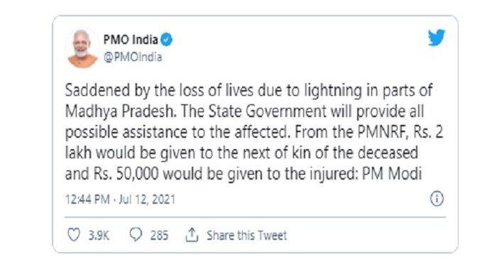 Cuitan akun Twitter @PMOIndia