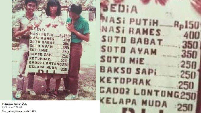 Daftar menu makanan tahun 1985