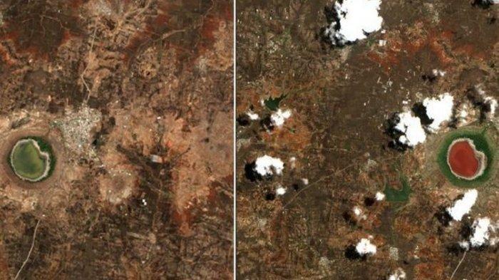 Viral di Medsos, Danau Kawah di India Berubah Warna dalam Semalam