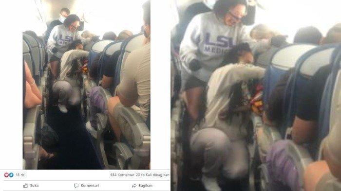 Dua mahasiswa kedokteran memberikan pertolongan pertama pada penumpang yang sakit di pesawat