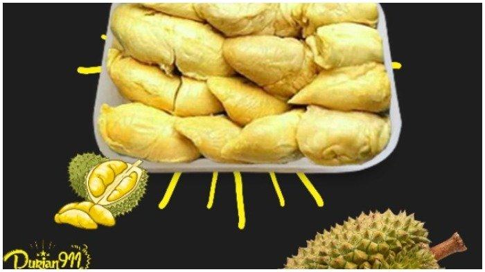 Ilustrasi buah durian kupas di kedai Durian 911