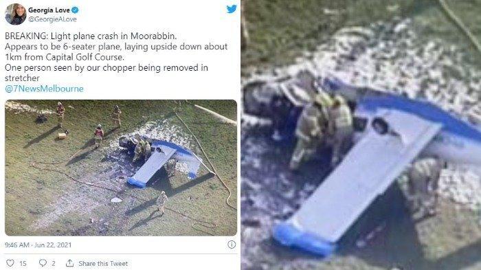 Tangkapan layar foto pesawat ringan jatuh saat menabrak pepohonan di sekitar bandara