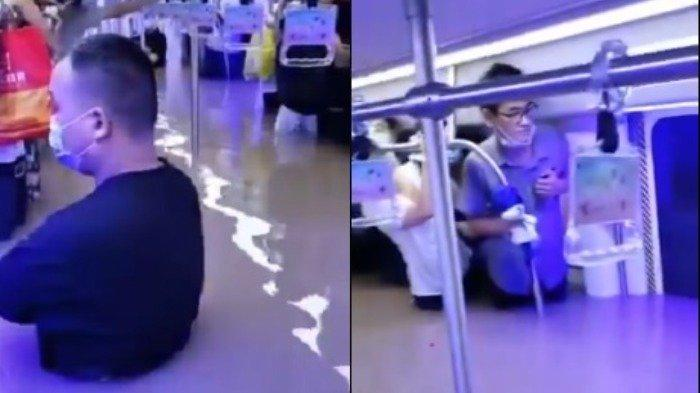 Viral Video Penumpang Terjebak di Gerbong Kereta Bawah Tanah China yang Terendam Banjir