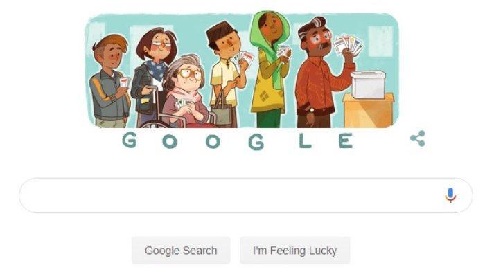 Ikut Meriahkan Pemilu 2019, Google Doodle Hari Ini Bertemakan Karakter Lucu tentang Pemilu