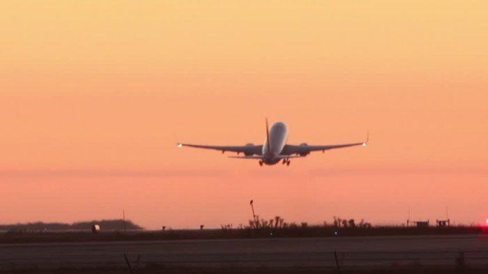 Ilustrasi pesawat yang lepas landas di bandara kala senja (videezy.com)