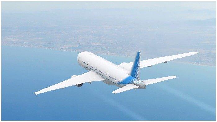 Ilustrasi pesawat yang terbang di atas perairan.