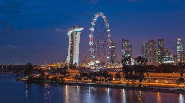 Ilustrasi suasana malam di Singapura