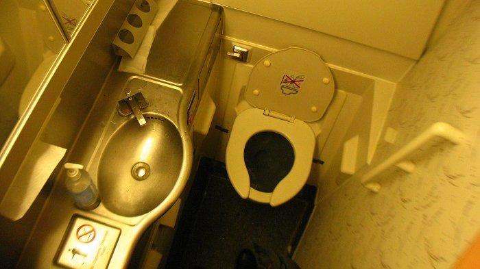 Ilustrasi toilet di dalam pesawat