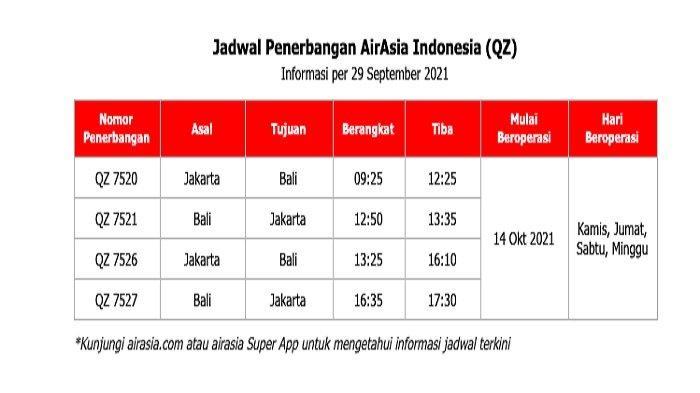 Jadwal penerbangan AirAsia per 29 September 2021