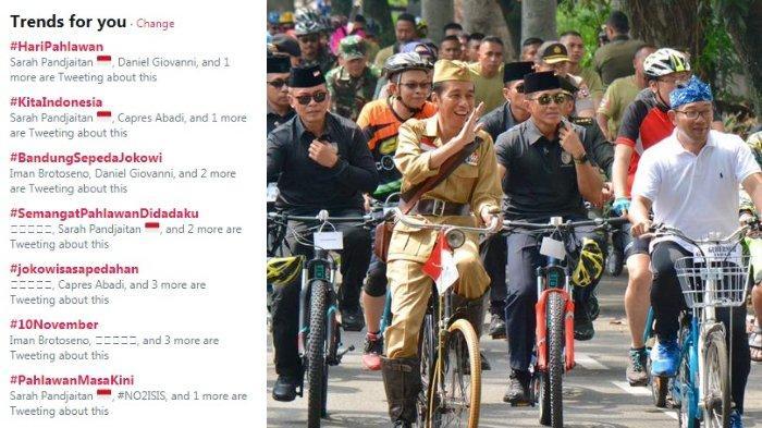 Jokowi Peringati Hari Pahlawan dengan Bersepeda, Tagar #BandungSepedaJokowi Jadi Trending di Twitter