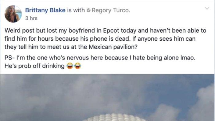 Kehilangan Pacarnya ketika Sedang Berada di Disney World, Perempuan ini Minta Pertolongan Facebook