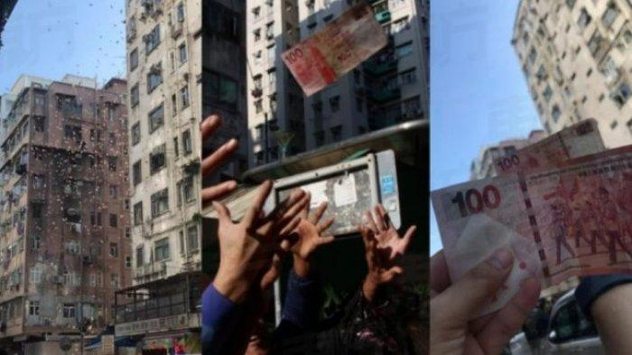 Kejadian Langka di Hong Kong -  Hujan Uang dari Langit dan Orang-Orang yang Saling Berebut