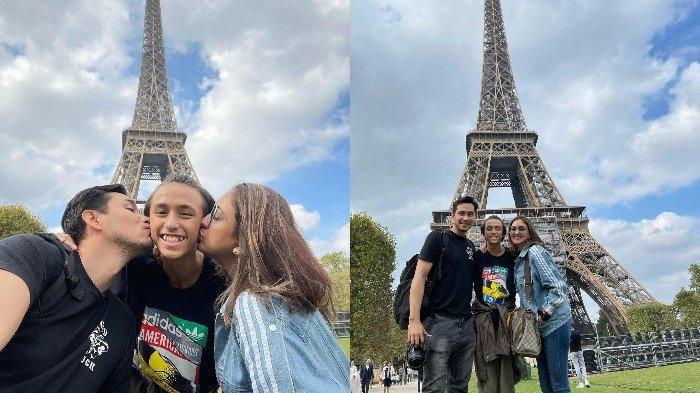 Potret keluarga Darius Sinathrya dan Donna Agnesia saat liburan di Paris, Prancis.