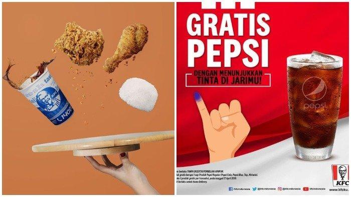Promo Pemilu 2019 - Tunjukkan Tanda Tinta di Jari dan Dapatkan Gratis 1 Gelas Pepsi Reguler di KFC
