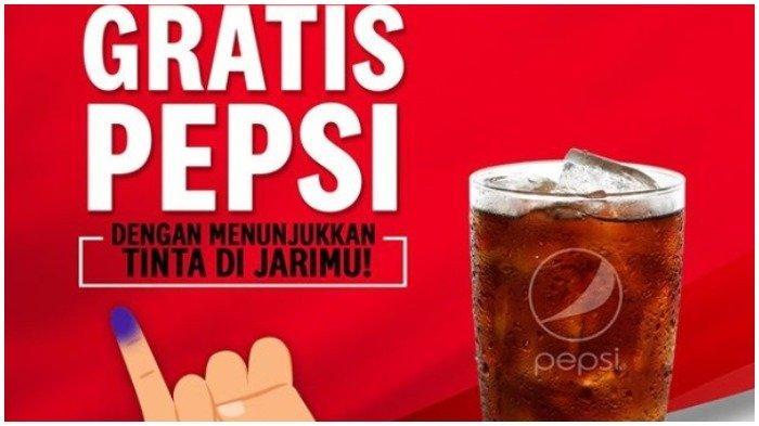 Ilustrasi promo Pemilu 2019, KFC berikan 1 gelas Pepsi Reguler GRATIS