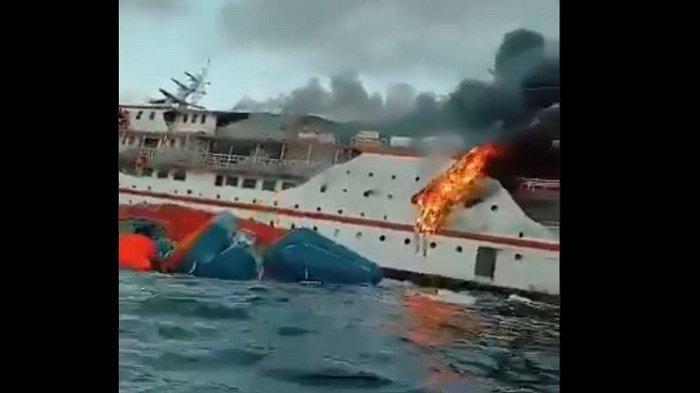 Video Viral, Momen Menegangkan KM Surya Indah Terbakar di Perairan Maluku Utara