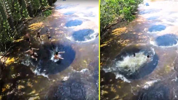 Rela Susuri Jalur Lumpur Demi Berenang di 10 Lubang Alami Sungai Amazon, Hanya Muncul Saat Air Surut