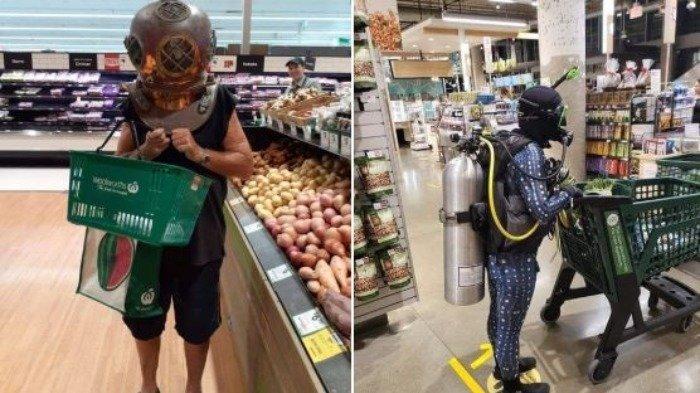 Hindari Penyebaran Virus Corona, Orang Ini Kenakan Pakaian Menyelam saat Belanja