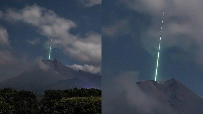 Viral di Medsos, Foto Kilatan Cahaya Biru Diduga Meteor Jatuh di Puncak Gunung Merapi