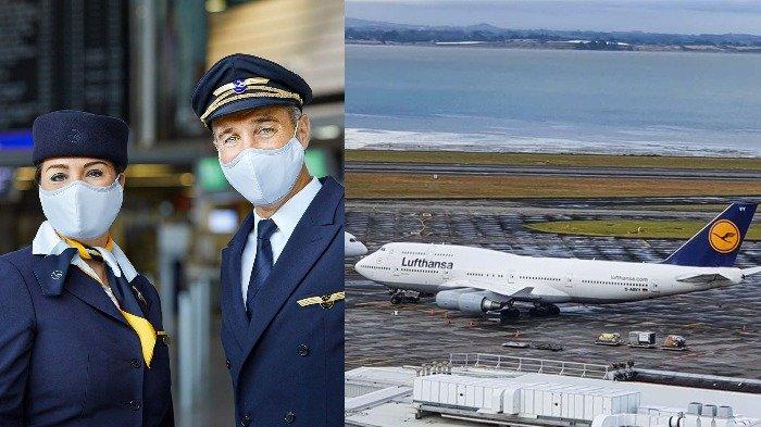 Kolase pesawat Lufthansa dan awak kabin, Senin (31/8/2020).