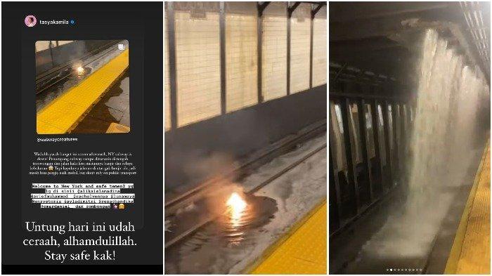 Kolase suasana stasiun kereta bawah tanah New York saat Badai Ida