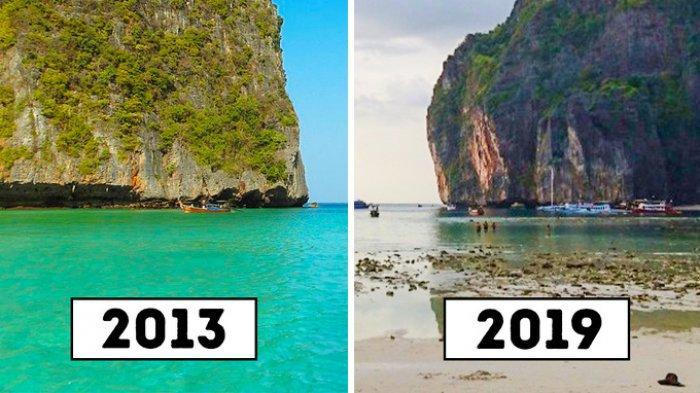 Kondisi Maya Bay dulu dan sekarang