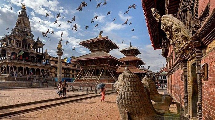 Kota Patan, di Selatan Kathmandu, Nepal