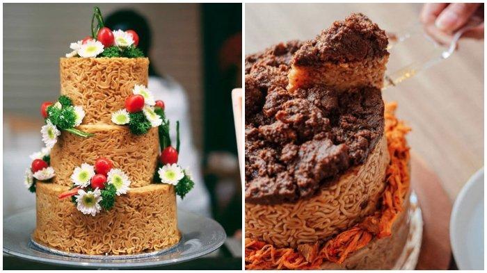 Viral di Medsos Kue Bertingkat dari Indomie, Jadi Hidangan Ulang Tahun hingga Pesta Pernikahan