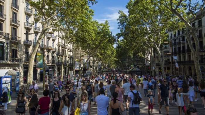 Las Ramblas, Barcelona, Spanyol.