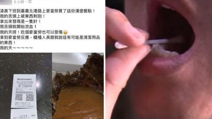 Lidah Pelanggan Taiwan Ini Tertusuk Benda Tajam Mirip 'Jarum' Saat Makan Burger McDonald's