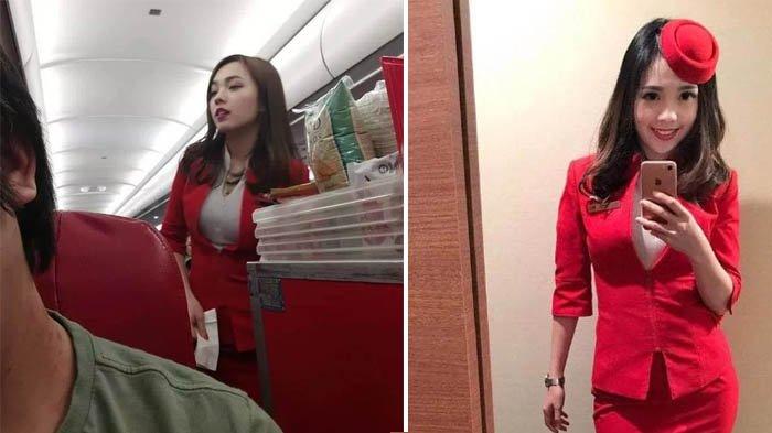 Dipotret oleh Seorang Penumpang, Kecantikan Pramugari AirAsia China Ini Jadi Viral