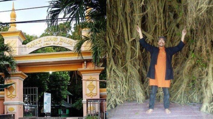 Kolase Pintu masuk Makam Loang Baloq dan peziarah yang mengikat akar pohon beringin.